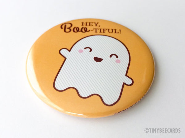 "Cute Ghost Magnet, Pin, or Pocket Mirror ""Hey Boo-tiful""-Button-TinyBeeCards"
