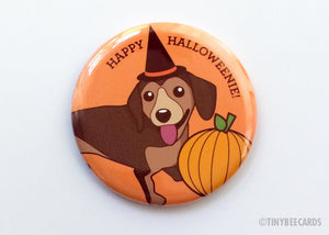 "Cute Dachshund Fridge Magnet, Pin, or Pocket Mirror ""Happy Halloweenie"" - Halloween gift, autumn fall pin, doxie lover pinback button gift"