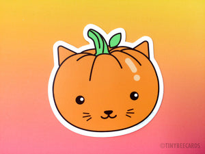 Cat Pumpkin Vinyl Sticker - fall theme stickers, halloween pumpkin sticker, cat lover stickers, cat food puns, cute cat, dishwasher safe
