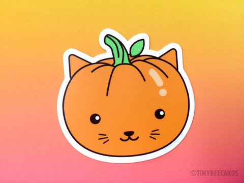 Cat Pumpkin Vinyl Sticker-Vinyl Sticker-TinyBeeCards