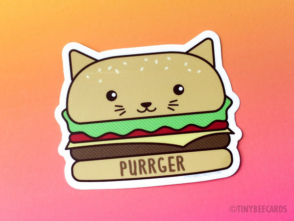 "Burger Cat Vinyl Sticker ""Purrger""-Vinyl Sticker-TinyBeeCards"