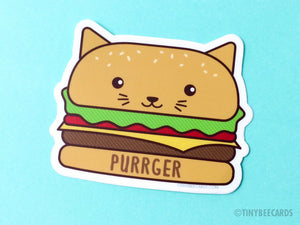 "Burger Cat Vinyl Sticker ""Purrger"" - kawaii cat foodie sticker, cat lover gift, cheeseburger cat illustration, foodie gift sticker, food cat"