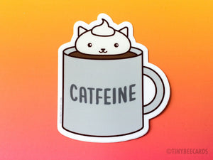 "Coffee Cat Vinyl Sticker ""Catfeine"" - coffee sticker, caffeine cat pun, cat lover gift, coffee lover gift, cat stocking stuffer, kawaii cat"