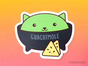 "Guacamole Cat Vinyl Sticker ""Guacatmole"" - food sticker, Mexican food cat pun, funny sticker, chips and guac, kawaii cat sticker, cat pun"
