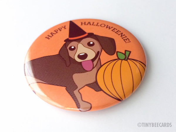 "Cute Dachshund Fridge Magnet, Pin, or Pocket Mirror ""Happy Halloweenie""-Button-TinyBeeCards"