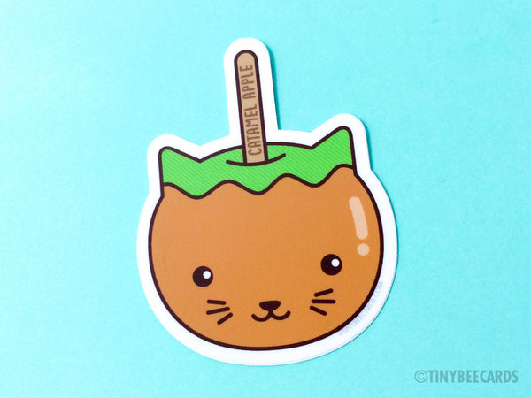 "Funny Cat Caramel Apple Vinyl Sticker ""Catamel Apple"" - fall theme stickers, cat lover stickers, cat desserts pun sticker, cat gifts"