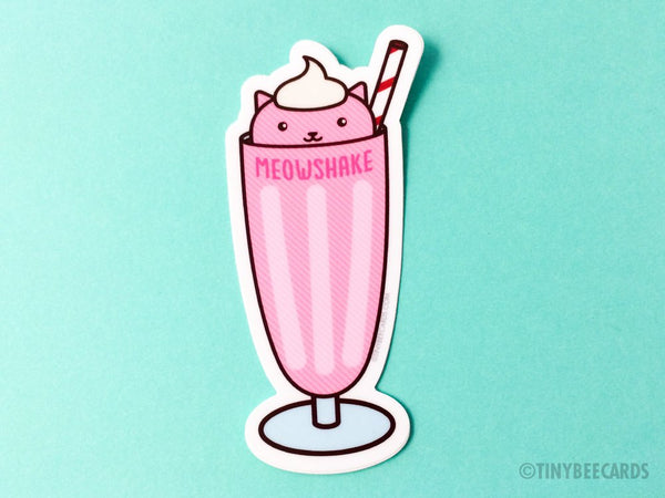 "Cat Milkshake Vinyl Sticker ""Meowshake"" - kawaii cat dessert sticker, cat lover gift, foodie gift, strawberry milkshake, funny cat puns"