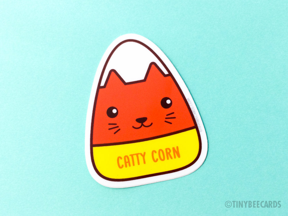 "Cat Candy Corn Vinyl Sticker ""Catty Corn""-Vinyl Sticker-TinyBeeCards"