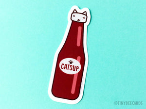 Catsup Cat Vinyl Sticker - cat lover sticker, kawaii cat pun, foodie cat, diner food, water bottle sticker, laptop sticker, funny stickers