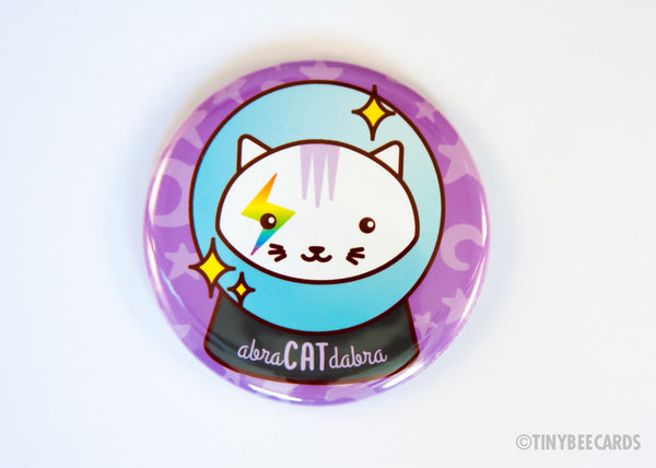 Abra-CAT-dabra Magical Cat Crystal Ball Button - Magnet Pin or Mirror-Button-TinyBeeCards