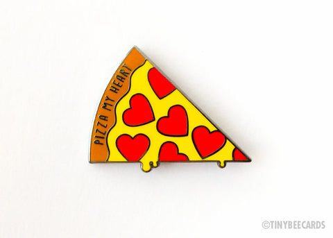 "Pizza Hard Enamel Pin ""Pizza My Heart"" - food lover gift, foodie lapel pin, cloisonne pin, pizza pun, funny enamel pin, pizza badge flair"