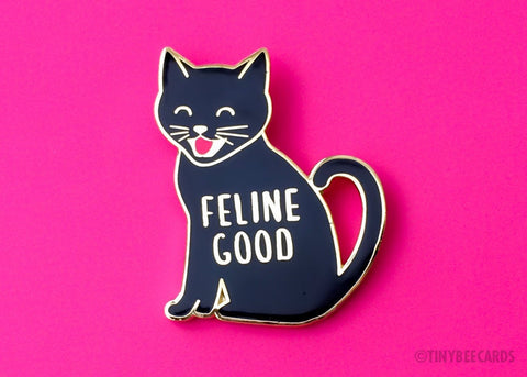 "Cat Enamel Pin ""Feline Good"" - black cat pin, cute flair, cat lover gift, for friend girlfriend boyfriend husband wife, black and gold pin"