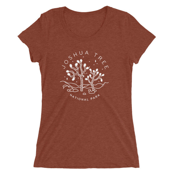 Joshua Tree T-Shirt National Parks Triblend Tee - jtree shirt gift, national parks art, nature lover gift, camping nature t-shirt clay brown