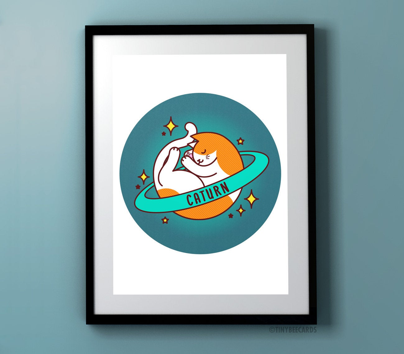 Caturn Space Cat Art Print-Art Print-TinyBeeCards