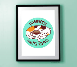 Introvert and Tea Cat Art Print-Art Print-TinyBeeCards