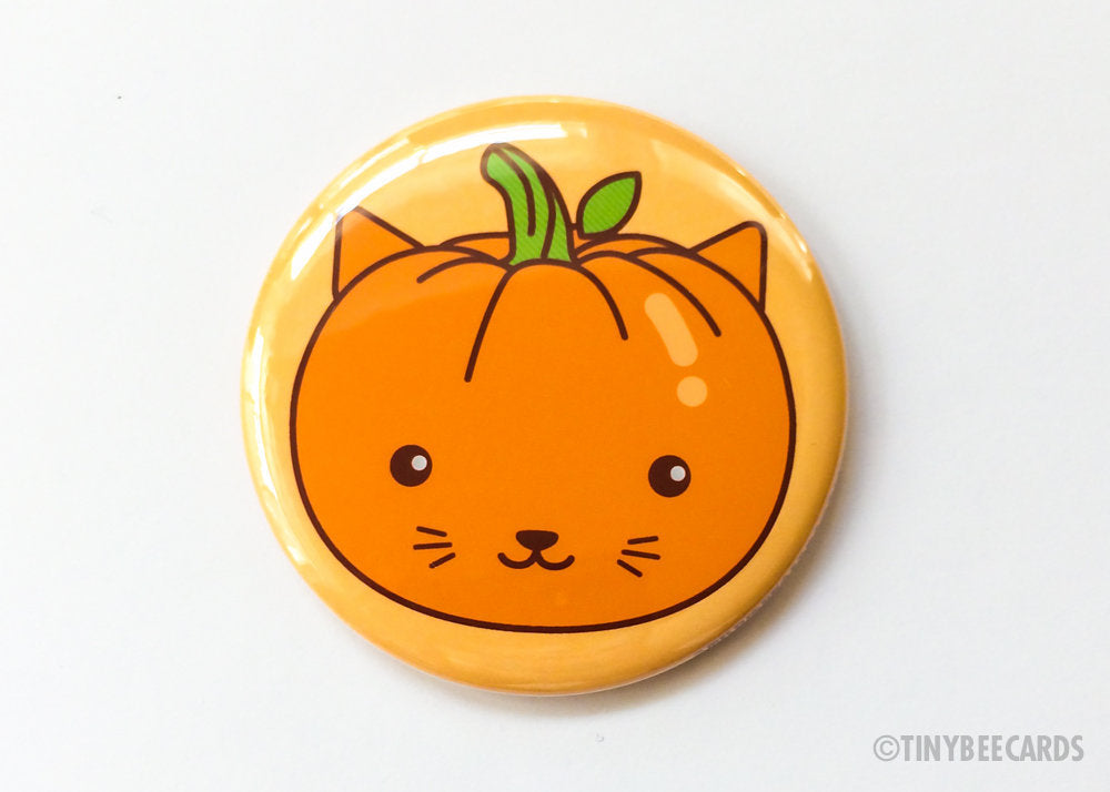 Pumpkin Cat Button Pin or Magnet-Button-TinyBeeCards