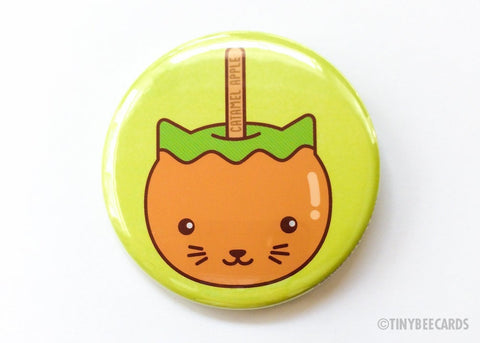 "Caramel Apple Cat Button Pin or Magnet ""CATamel Apple""-Button-TinyBeeCards"