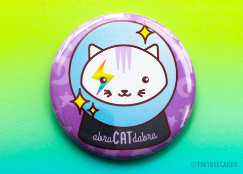 Abra-CAT-dabra Mirror, Pin or Magnet - magical cat, crystal ball, cat lover button pin, flair game, crystal ball, witchcraft art, for her