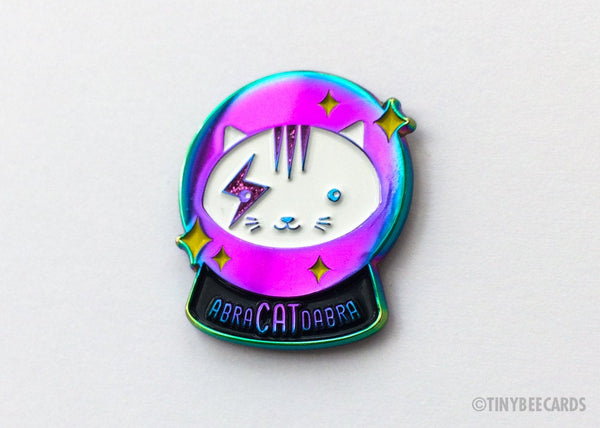 Magical Crystal Ball Rainbow Cat Enamel Pin AbraCATdabra-Enamel Pin-TinyBeeCards
