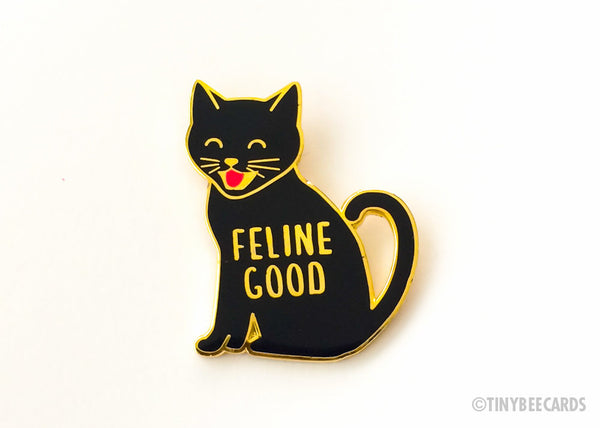 "Cat Enamel Pin ""Feline Good""-Enamel Pin-TinyBeeCards"