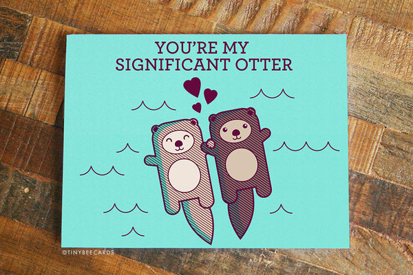 Significant Otter Enamel Pin & Card Bundle - cute gift for wife, husband, boyfriend, girlfriend, significant other birthdays anniversary etc