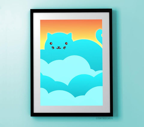 Cloud Cat Art Print-Art Print-TinyBeeCards