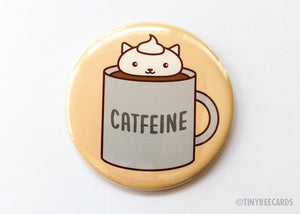"Coffee Cat Button Pin or Magnet ""Catfeine""-Button-TinyBeeCards"