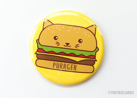 "Burger Cat Button Pin or Magnet ""PURRger""-Button-TinyBeeCards"