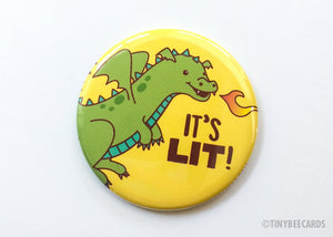 "Dragon Button ""It's Lit!""-Button-TinyBeeCards"