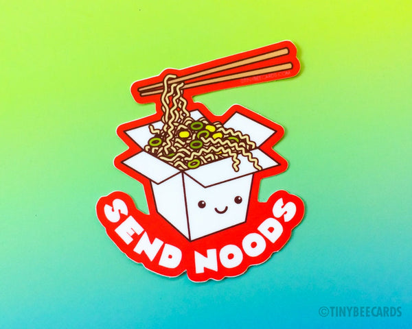 "Funny Ramen Noodles Vinyl Sticker ""Send Noods"" - cheeky rude sticker, foodie lover gift, cute kawaii food, adult pun joke, asian food"