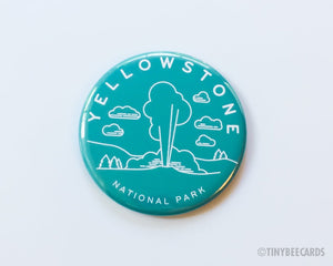 Yellowstone National Park Magnet, Pin, or Pocket Mirror - national parks pin, yellowstone badge, outdoorsy gifts, nature gifts, Wyoming US