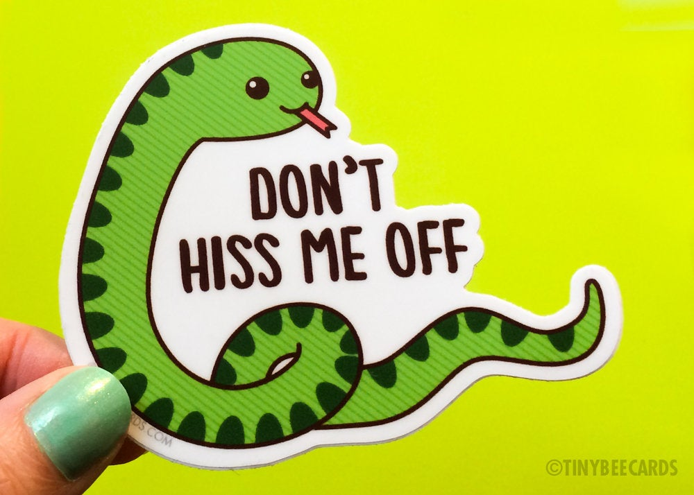 "Funny Snake Vinyl Sticker ""Don't Hiss Me Off"" - cute animal sticker, cheeky rude sticker, pun laptop sticker, kawaii cute snake art"