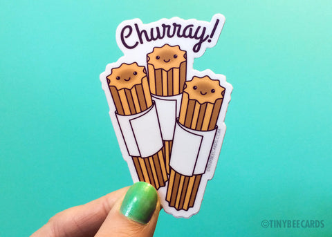 "Funny Churro Vinyl Sticker ""Churray!"""