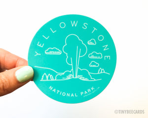 Yellowstone National Park Sticker  - water bottle sticker, outdoorsy national park gifts, gift for him her, Wyoming sticker, nature lover