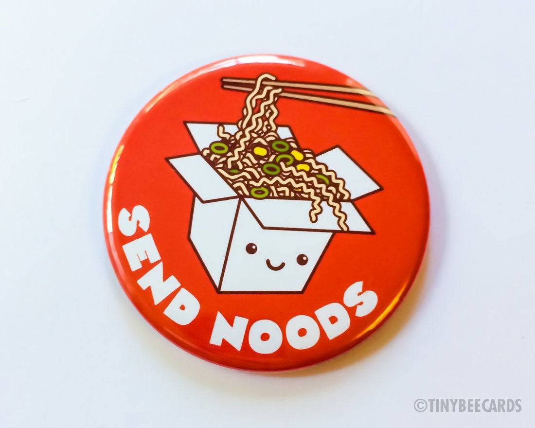"Funny Cheeky Rude Ramen Button ""Send Noods"" Magnet, Pin, or Pocket Mirror - cute kawaii pin, ramen noodles badge, foodie gift, asian food"