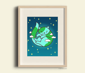 Earth Cat Art Print Planet Purrth - cat lover wall art, space cat, cat lover owner gift, magical galaxy cosmic cat, earth lover nursery art