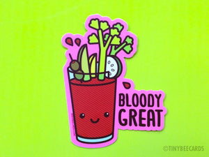"Funny Bloody Mary Vinyl Sticker ""Bloody Great"" - foodie stickers, alcohol cocktail pun sticker, cute kawaii food gift, water bottle sticker"