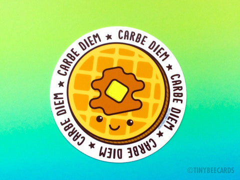 "Funny Waffle Vinyl Sticker ""Carbe Diem"" - foodie stickers, carb lover pun sticker, kawaii food gift, waffle lover gift, breakfast lover"