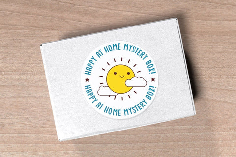 Happy at Home Mystery Box - Positive messages, stay home self care treat yourself care package gift, grab bag pins cards stickers activities
