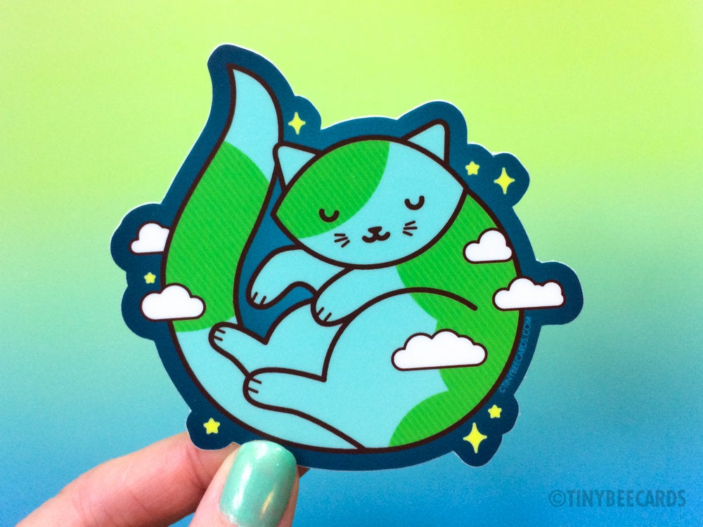 "Cute Earth Cat Sticker ""Purrth"" - cosmic outer space cat laptop sticker, cat lover gift, cat planet, cat owner gift, animal decal, kitty art"