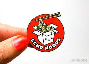 "Funny Ramen Hard Enamel Pin ""Send Noods"" - foodie lapel pin gift, cloisonne pin, Japanese food, funny enamel pin, rude cute gift, noodles"