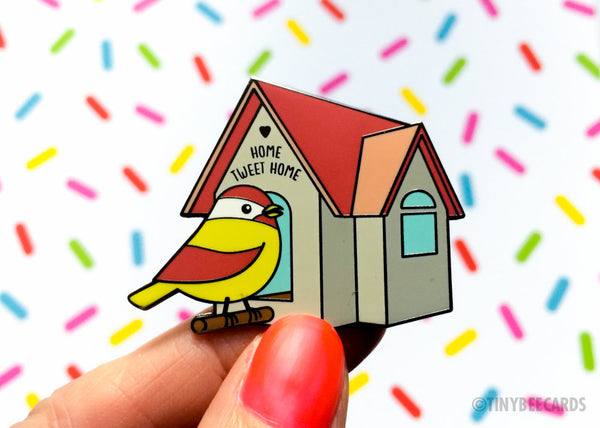 "Cute Bird Hard Enamel Pin ""Home Tweet Home"" - animal lover lapel pin gift, cloisonne pin, funny enamel pin, stay home quarantine gift"