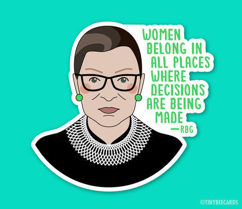 RBG Donation Fundraiser Sticker - PREORDER - 100% Profits Donated  -  good cause, Ruth Bader Ginsburg sticker, voting rights, feminist decal