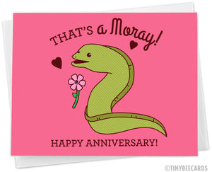 "Funny Anniversary Card ""That's A Moray, Happy Anniversary!"""