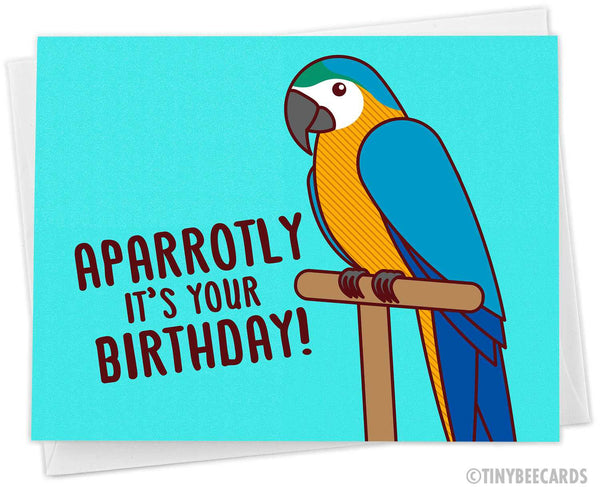 "Parrot Birthday Card ""AParrotly It's Your Birthday!"""