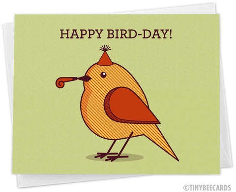 "Cute Birthday Card ""Happy Bird-Day"""