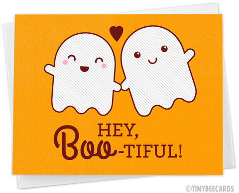 "Funny Ghosts Love Card ""Hey Boo-tiful"""