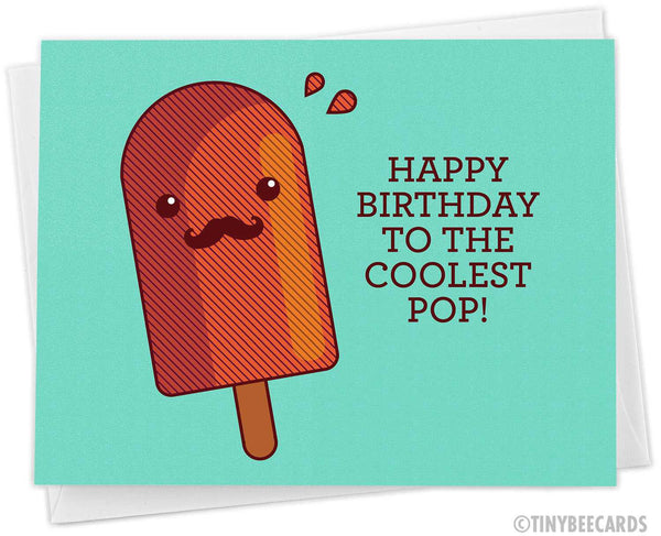 "Dad Popsicle Birthday Card ""Happy Birthday to the Coolest Pop!"""
