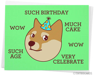 "Funny Doge Meme Birthday Card ""Such Birthday"""
