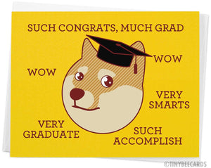 "Funny Doge Meme Graduation Card ""Much Grad"""